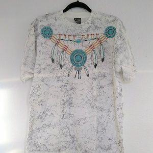 Vintage single stich tribal boho marble t-shirt